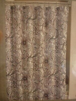 NEW Microfiber Shower Curtain In Black Lace 72 X White
