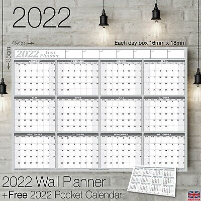 2020 Yearly Planner Annual Wall Chart Year Planner & a FREE 2 Year Desk Calendar