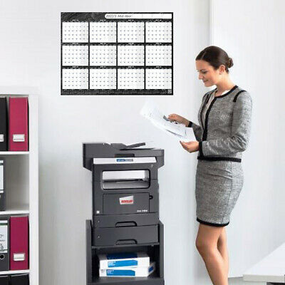 2020 Yearly Planner Annual Wall Chart Year Planner BLACK +FREE 2Yr Desk Calendar