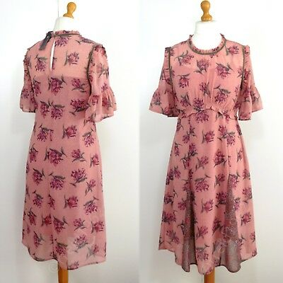 M&S Silky FLORAL Print RUFFLE TRIMMED Half Sleeve MIDI DRESS ~ Size 12 ~ PINK