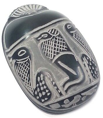 Large Egyptian Scarab Beetle Paperweight Carved With Hieroglyphs Black Basalt