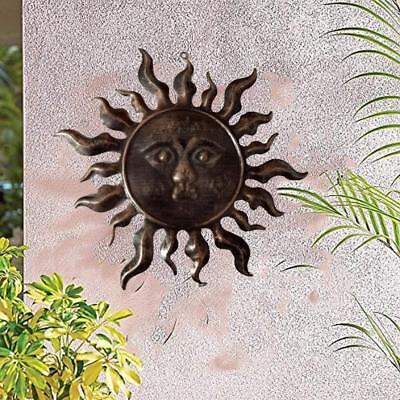 Metal Bronze Sun Face Wall Sculpture Indoor Outdoor Home & Garden Decor