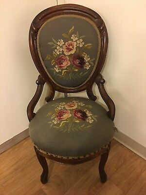 Victorian Needlepoint Parlor Chair;Vintage Used Condition