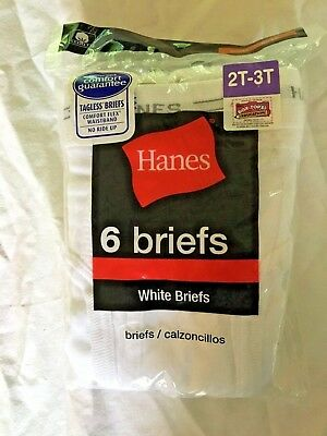 Boys 2T-3T Hanes White Briefs Underwear - 6/pack
