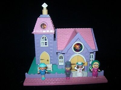 EUC 100% Complete (Lights Up)Vintage Polly Pocket Wedding Chapel 1993