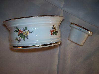 Multi Size Candle Holder..white..gold..flowers..2 Piece..france..gold Trim.rare