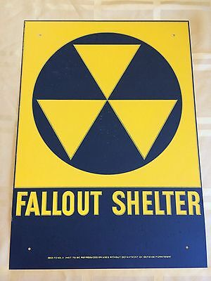 """SUMMER SALE LOT Of 2 VINTAGE 1960s FALLOUT SHELTER SIGN GALVSTEEL 10""""x14"""""""