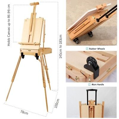 Tripod Wooden Easel Workstation Folding French Sketch Box Trolly Style Wheels
