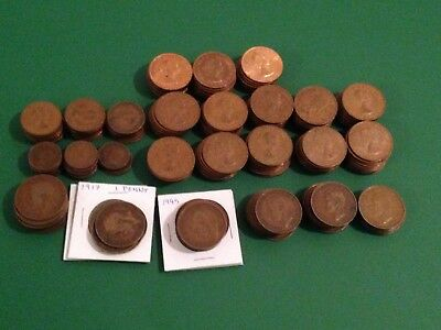 British Coins - 210 Pennies, 36 Half Pennies and 32 Farthings