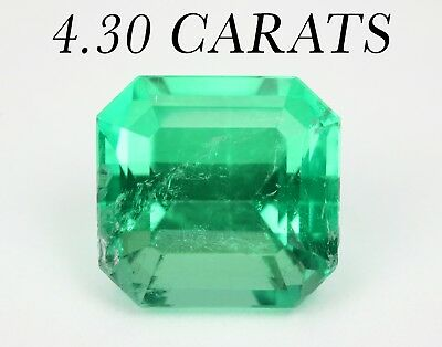 No Oil GIA certified 4.30 Cts Untreated Transparent Colombian Emerald Loose Gem