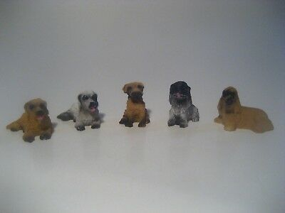 Dollhouse Miniature Dogs Puppies Pets Lot Of 5 Fairy Garden New