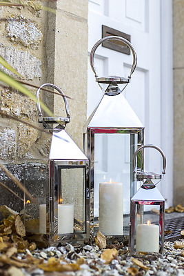 Outdoor Garden Lantern Candle Holder Modern Stainless Steel and Glass