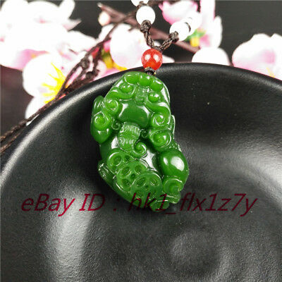 Chinese Green Jade Pixiu Pendant Necklace Fashion Charm Jewelry Lucky Amulet A-1