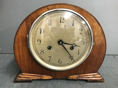 Art Deco 1930's Chiming Mantel Clock - Time Piece -8 Day
