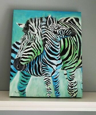 Original Zebra Art Safari Nursery Theme Painting Mama Baby Canvas Ready to Hang