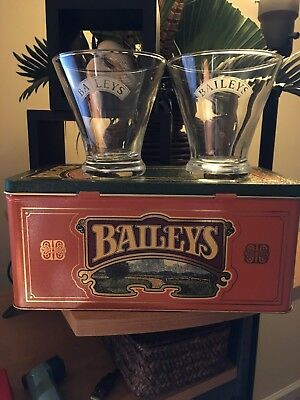 (2) BaileysTulip glasses & (1) Baileys Tin Box ++EMPTY++