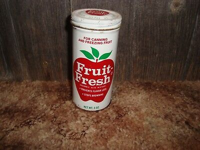 VINTAGE 5 oz FRUIT FRESH SCREW ON LID TIN