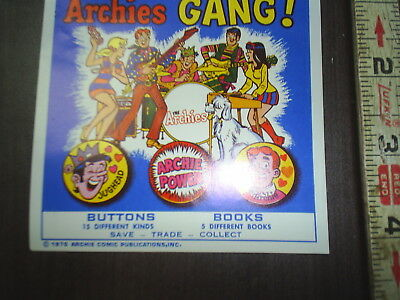 NOS Ad Card from a Gumball machine Archies Gang ! Buttons / Books ad crad
