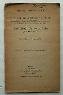 The Great Game In Asia 1800-1844 By Professor H,w,c,davis