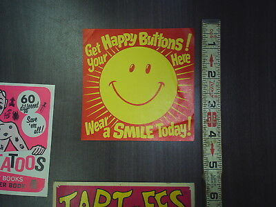 NOS Ad Card from a Gumball machine Happy Butons ad Card