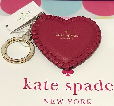 KATE SPADE WHIPSTITCH Leather Pink Heart Keyring Key Fob