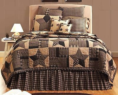 Twin Quilt Country Black & Tan Hand-Stitched Strip Block Patchwork Bingham Star