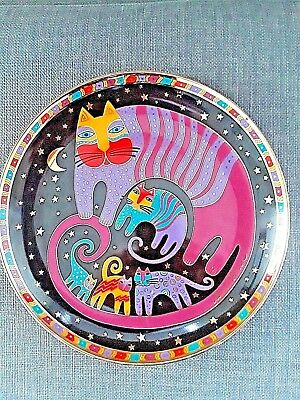 ~LAUREL BURCH ~Feline Family CAT PLATE~ Franklin Mint 24k Gold~
