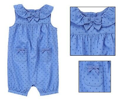 cf79fd16ddf  SPRING  NWT GYMBOREE Baby Girl Blue Swiss Dot Bubble 1 Piece Romper 6-12  months