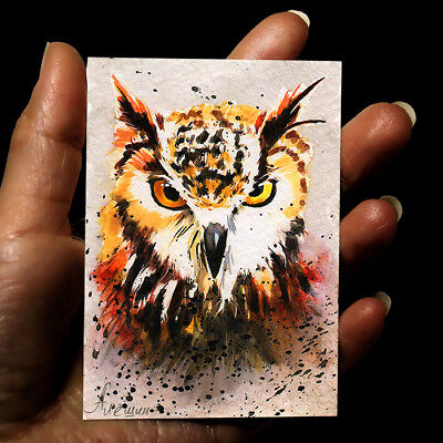 "ORIGINAL HAND PAINTING DRAWING ART WATERCOLOR PICTURE ANIMALS ACEO ""Owl"" signed"