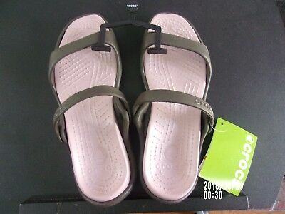 Croc's Cleo Chocolate/ Cotton Candy two sraps Slide Sandals Women's Size 8 NWT