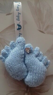 """hand knitted blue baby foot pram charm 4"""" high"""
