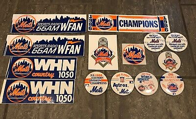 Lot of Vintage New York Mets decals/stickers & World Series Shea Stadium Buttons