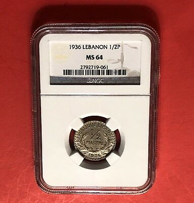 Lebanon-Unc 1/2 Piastre 1936 ,geaded By Ngc Ms64........rare Grade.