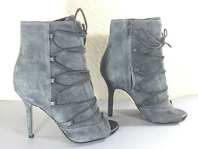 c28ca13696f35 SAM EDELMAN Womens ASHER Grey Suede Open Toe High Heel Ankle Boots - Size  6