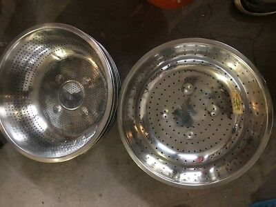 12.75 Qt. Round Silver Stainless Steel Chinese Colander Lot of 9