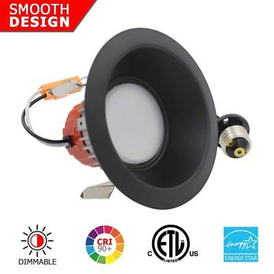 """4"""" Inch LED Recessed Light - 9W Dimmable Downlight Trim - Black Round Smooth"""