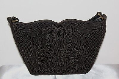 Classic Beauty 1940's Black Glass Seed Beads Vintage Purse Lc1
