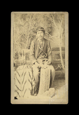 1880s antique cabinet photo Navajo Indian Jewelry Maker Occupational ? Texas