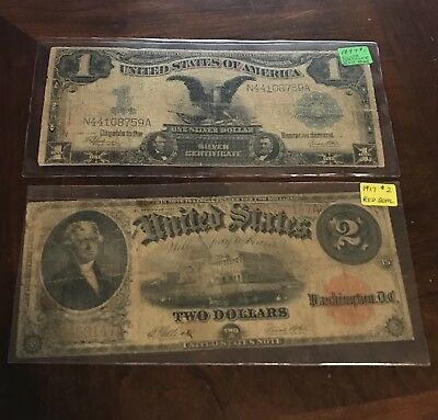 LOT OF 2 RARE OLD LARGE US CURRENCY NOTES: $1 1899 , $2 1917 .99 Start!!