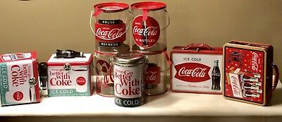 Lot Of 9 Coca Cola Tin Box Collection/Decor Products