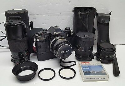 Canon A-1 Camera W/ Power Winder, 35mm 50mm 35-70mm 70-150mm Lens - Exc, No Mold