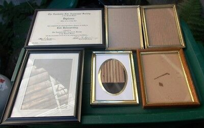 ~ Lot of 6 Vintage Mixed Picture Photo Frames ~ 2 Wood, 3 Gold metal,1 plastic ~