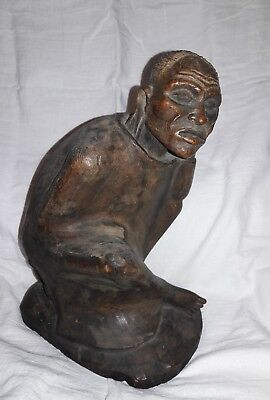 Vintage African Hand Carved Wood Thinking Man Stool Sculpture Statue Mid Century