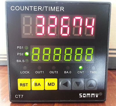 Timer Counter, Dual preset Batch-Dual 10kHz AB input, Multifuntional CT7-MC62