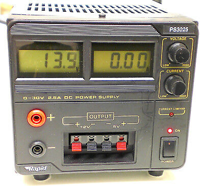 Rapid Ps-3025 Triple Output Bench Power Supply. 0 - 30V / 2.5A, & Fixed 5V / 12V