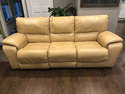 ITALIAN LEATHER SOFA Recliner-- Butter Cream color, lovingly used ...