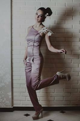 Handmade Women's Pink Satin Bodysuit with accessory | Size Small US- 4