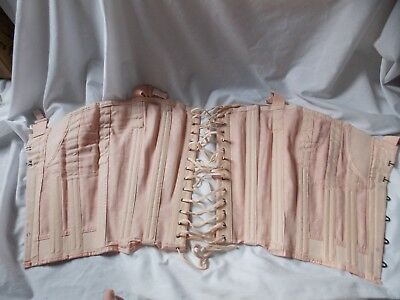 VTG 1940s LADIES PEACH COTTON WAIST CINCHER CORSETS GIRDLES w GARTERS