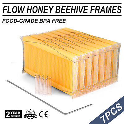 Beekeeping Flow Hive Seven 7pc Frames With Box Auto Honey Harvesting New Bee