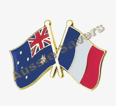 Australian / France  Flag Hat Pin / Badge - Enamel Friendship Badge